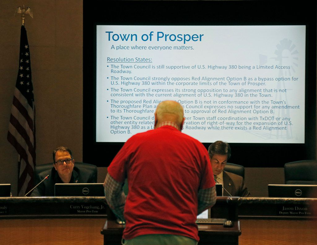 Prosper resident Ben Pruett addressed the council as residents crowded into Prosper Town Hall to oppose an option for a U.S. Highway 380 bypass.