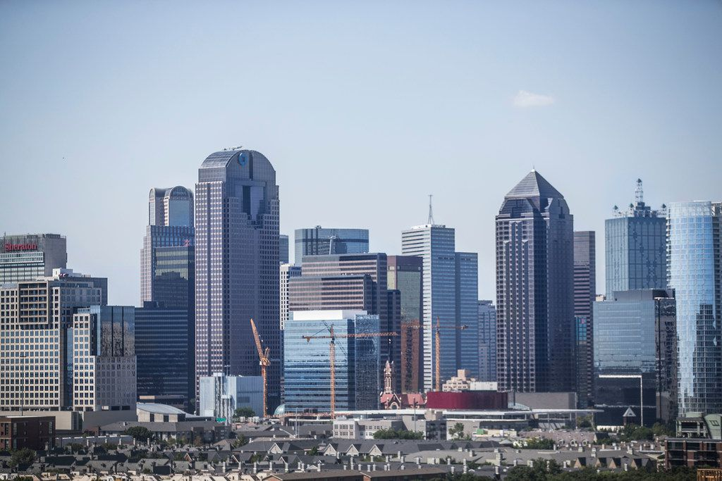 The view of the downtown Dallas skyline seen from the Ardan apartments on Aug. 1.