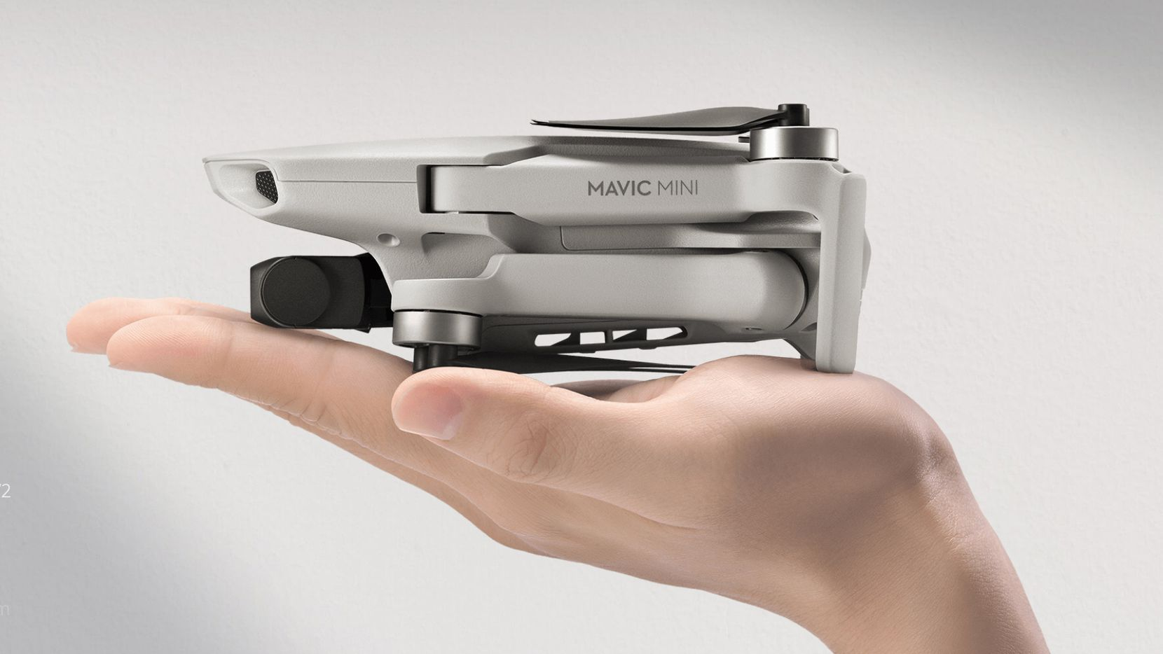 The DJI Mavic Mini, folded up it fits in the palm of your hand.