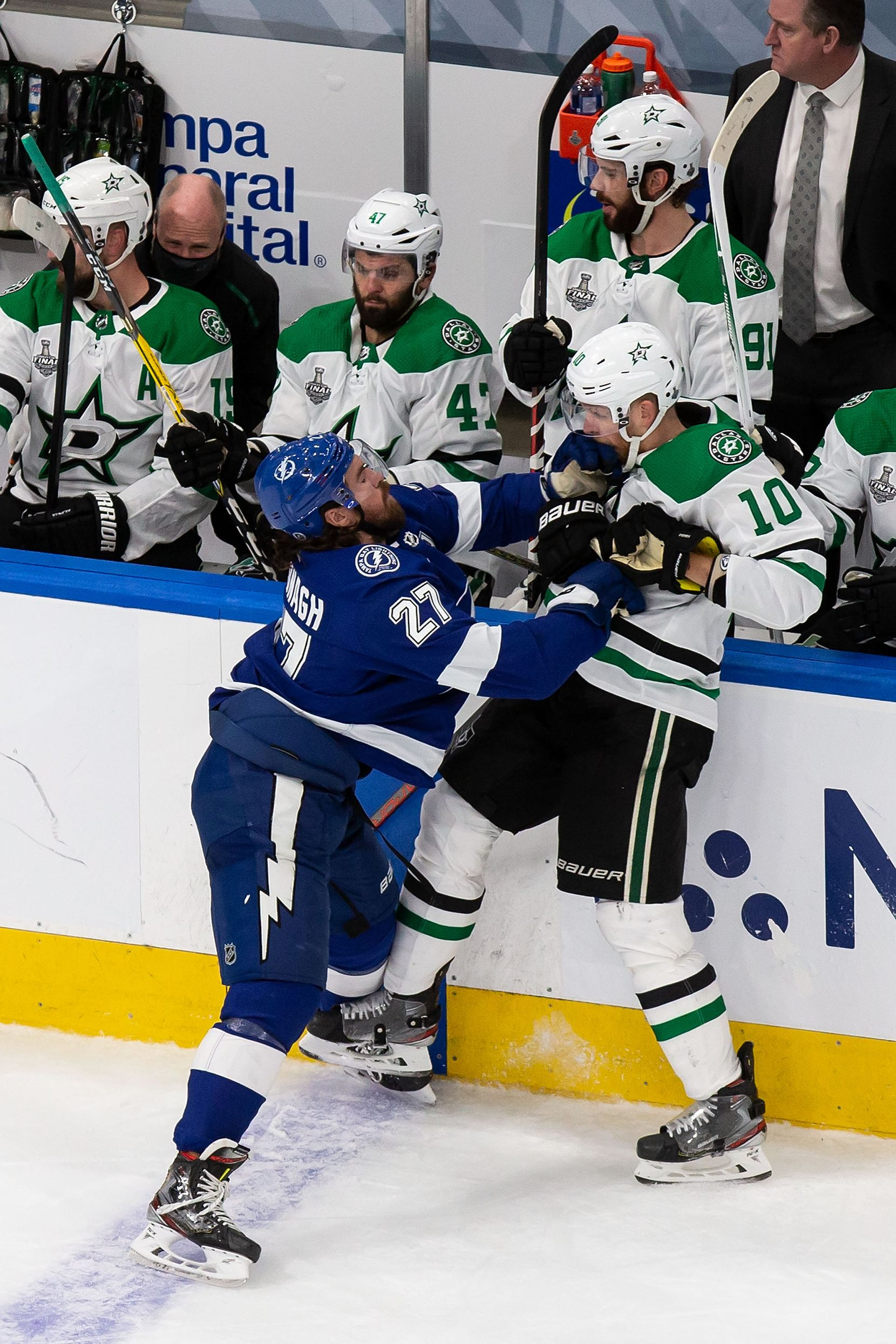 Corey Perry (10) of the Dallas Stars battles against Ryan McDonagh (27) of the Tampa Bay Lightning during Game Two of the Stanley Cup Final at Rogers Place in Edmonton, Alberta, Canada on Monday, September 21, 2020. (Codie McLachlan/Special Contributor)