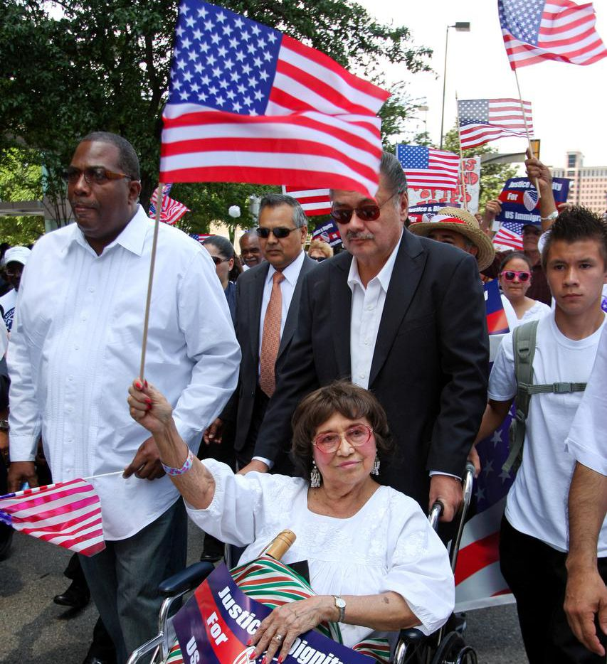 Adelfa Callejo  took part in an immigration rally downtown in 2010, one of her many civil rights efforts.