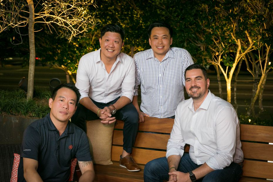 Friends (from left) Kin Ho, Allen Lo, Wayne Yung and and Kaleb Harrell started Hawkers Asian Street Food in Florida in 2011. The first Texas restaurant is expected to open in late 2021.