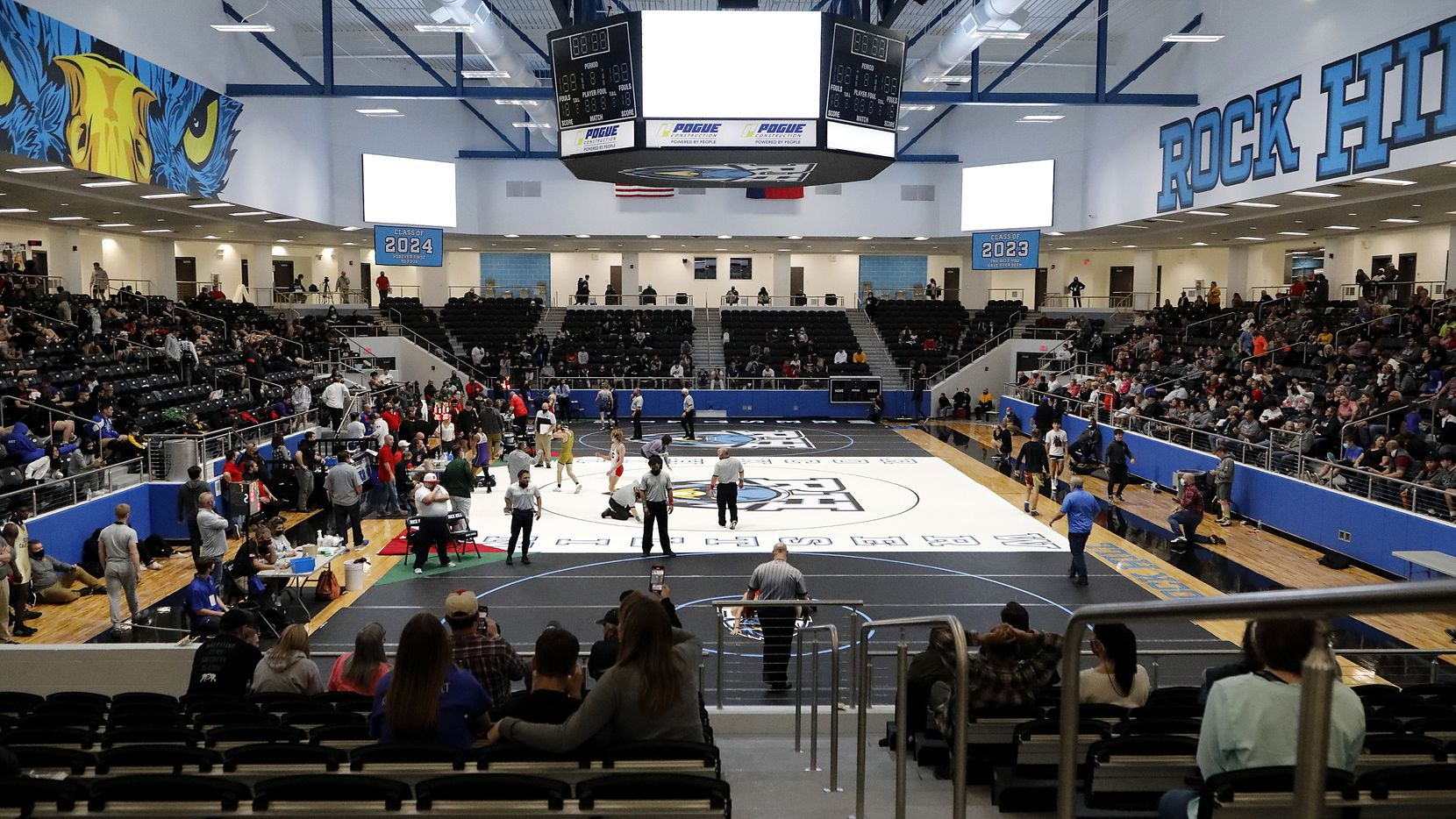 The gym used three matts for the competition during the UIL Region II wrestling meet held at Rockhill High School in Frisco on Saturday, April 17, 2021.