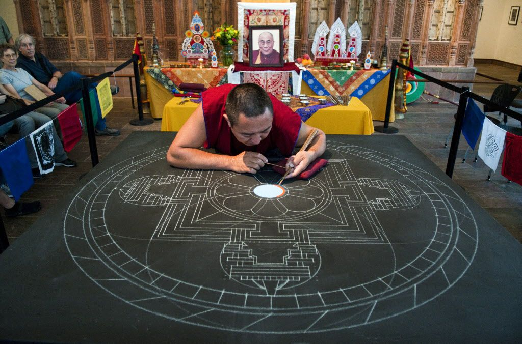 Tibetan Buddhists monks will construct an elaborate mandala as part of the Mystical Arts of Tibet residency at the Crow Collection of Asian Art.