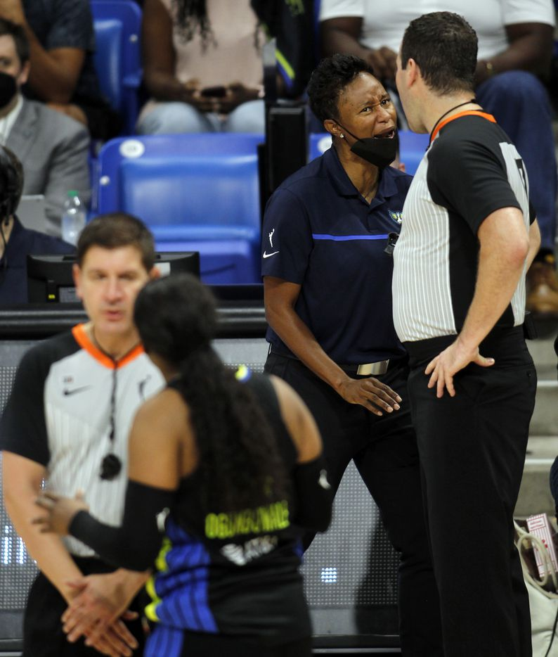 Dallas Wings head coach Vickie Johnson, upper right, reacts following a referee's call as Wings guard Arike Ogunbowale (24) questions the outcome of the play during first half action against the Atlanta Dream. The two teams played their WNBA game at College Park Center on the campus of UT-Arlington on September 5, 2021. (Steve Hamm/ Special Contributor)