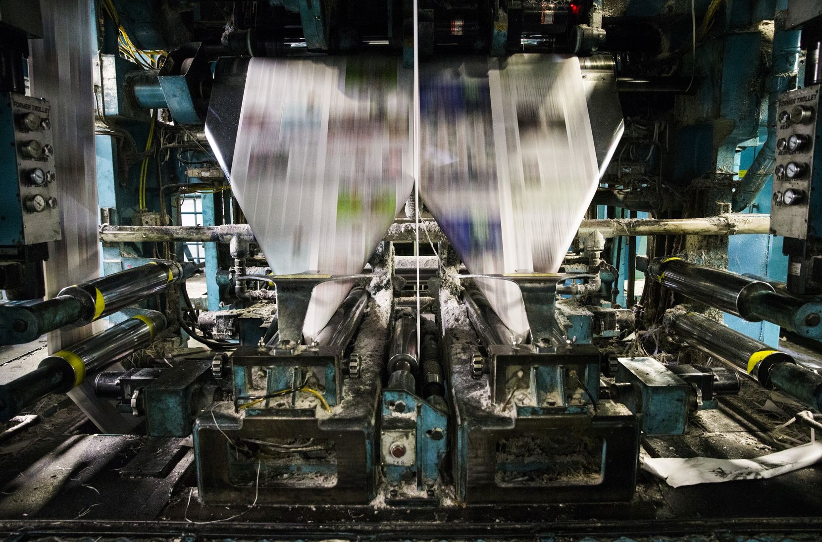 Presses roll at The News' printing plant in Plano. Several other publications, including USA Today, The New York Times, The Wall Street Journal and the Fort Worth Star-Telegram, are printed at the plant.