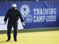 Cowboys head coach Mike McCarthy is pictured during the first day of training camp at The Star in Frisco on Friday, Aug. 14, 2020.