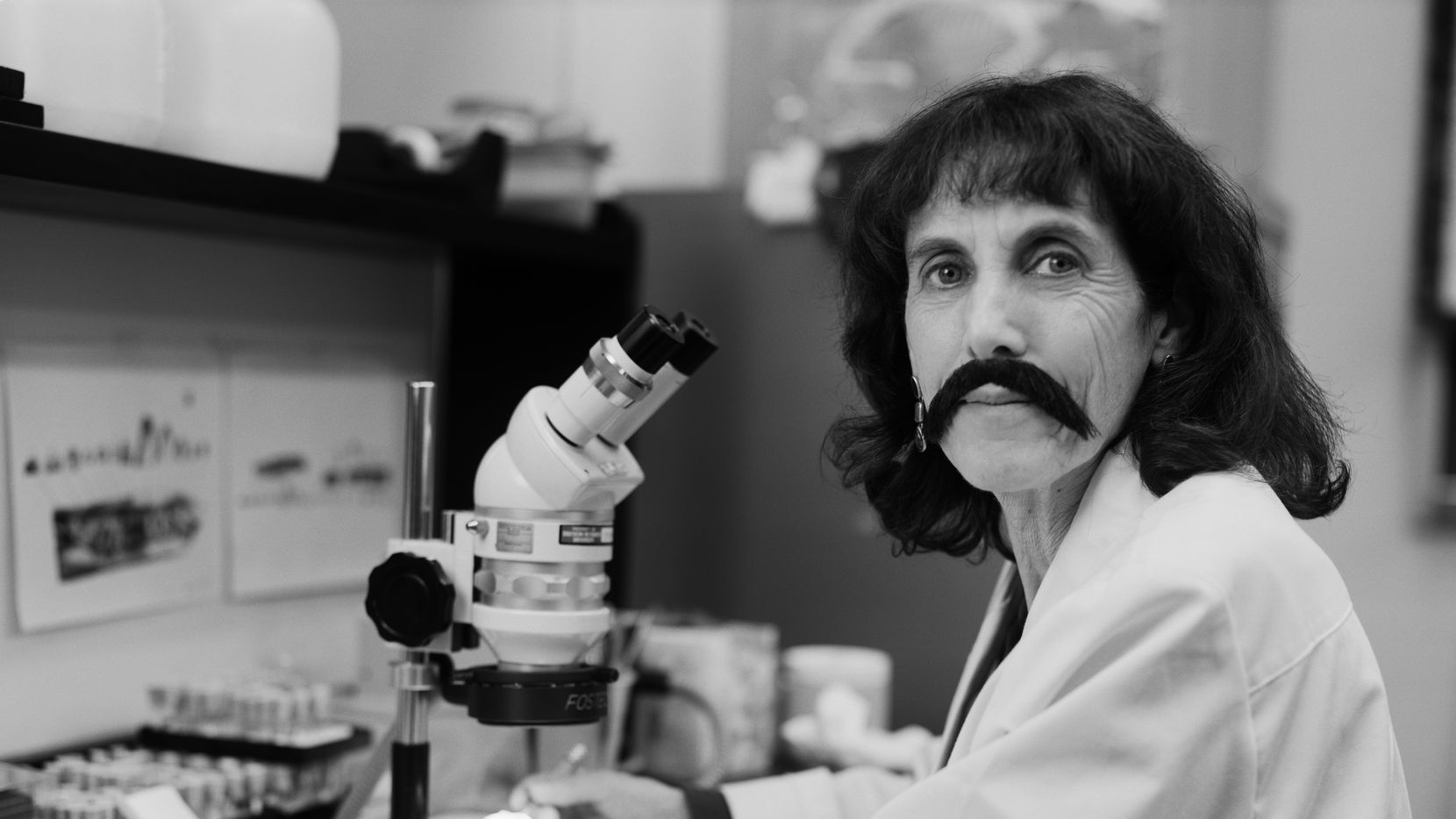 "Alisa Winkler, an anatomy professor at UT Southwestern, donned a mustache for ""The Bearded Lady Project"" in October 2015 at Southern Methodist University."