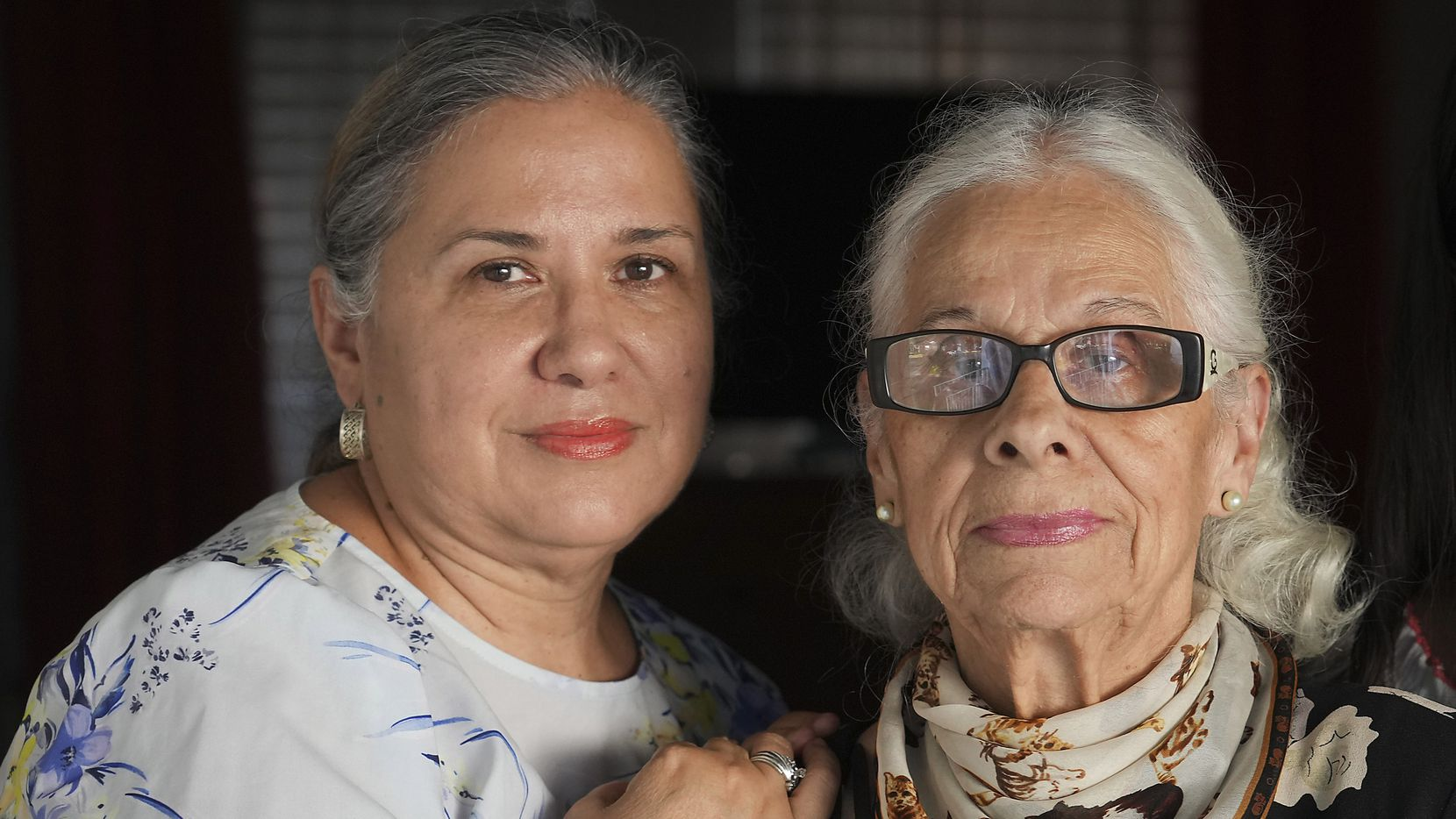 Alejandra Vila, 57, photographed with her mother Olga Umana, 89, on Thursday, July 15, 2021, in Dallas. Alejandra Vila and Olga Umana were among the first to be vaccinated at Fair Park on the first day of Dallas County's Fair Park mega vaccine site. (Smiley N. Pool/The Dallas Morning News)