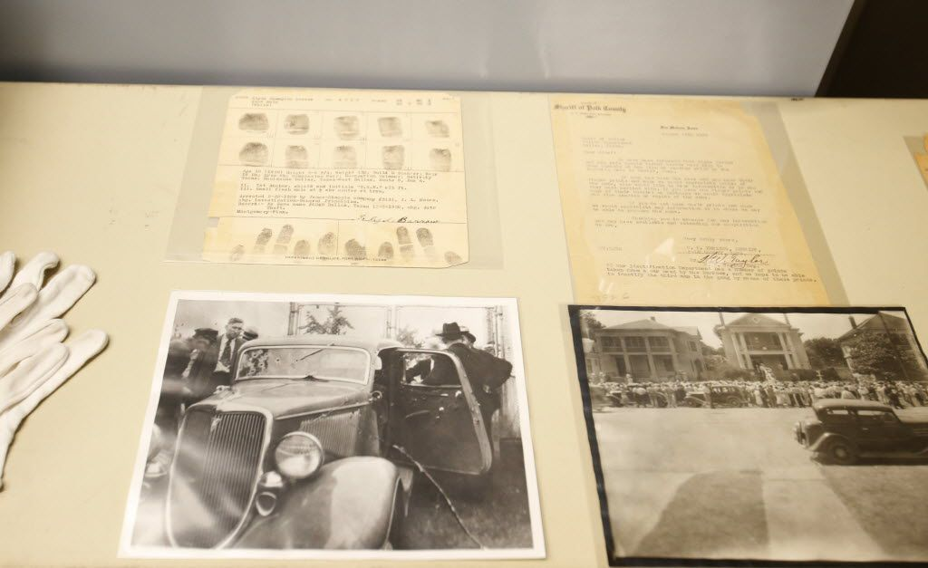 Items associated with Bonnie and Clyde, fingerprints, letters and photos in the new municipal archives vault at City Hall in Dallas