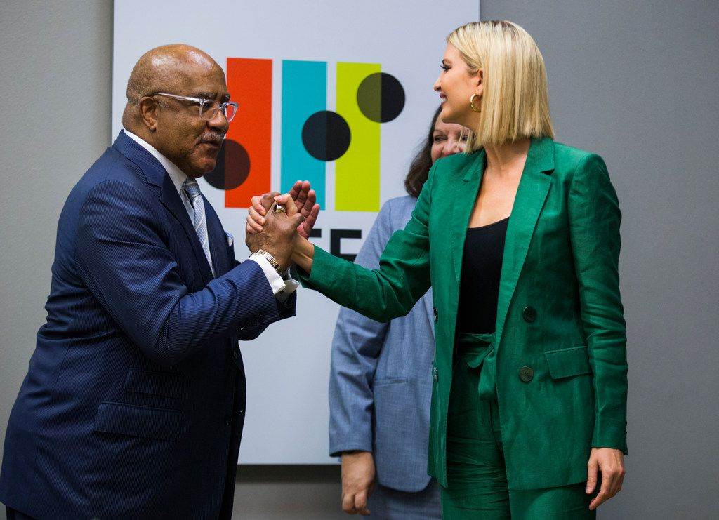 Dr. Walter Bumphus, of the American Association of Community Colleges, high-fives Ivanka Trump, Advisor to the President, after she and Sundar Pichai, CEO of Google, hosted a roundtable discussion with students and administrators involved with Google's online training program on Thursday, October 3, 2019 at El Centro College in Dallas. Google announced they are expanding their online IT Support Professional Certificate. (Ashley Landis/The Dallas Morning News)