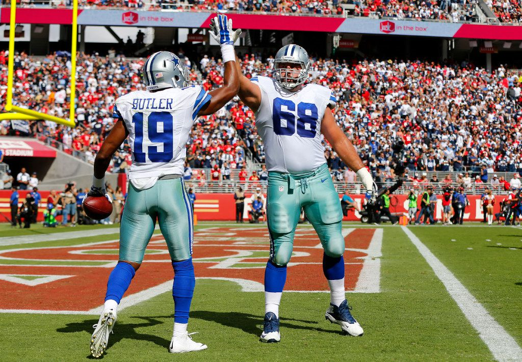 Dallas Cowboys wide receiver Brice Butler (19) is congratulated on his second quarter touchdown reception by tackle Doug Free (68) at Levi's Stadium in Santa Clara, California, Sunday, October 2, 2016.(Tom Fox/The Dallas Morning News)