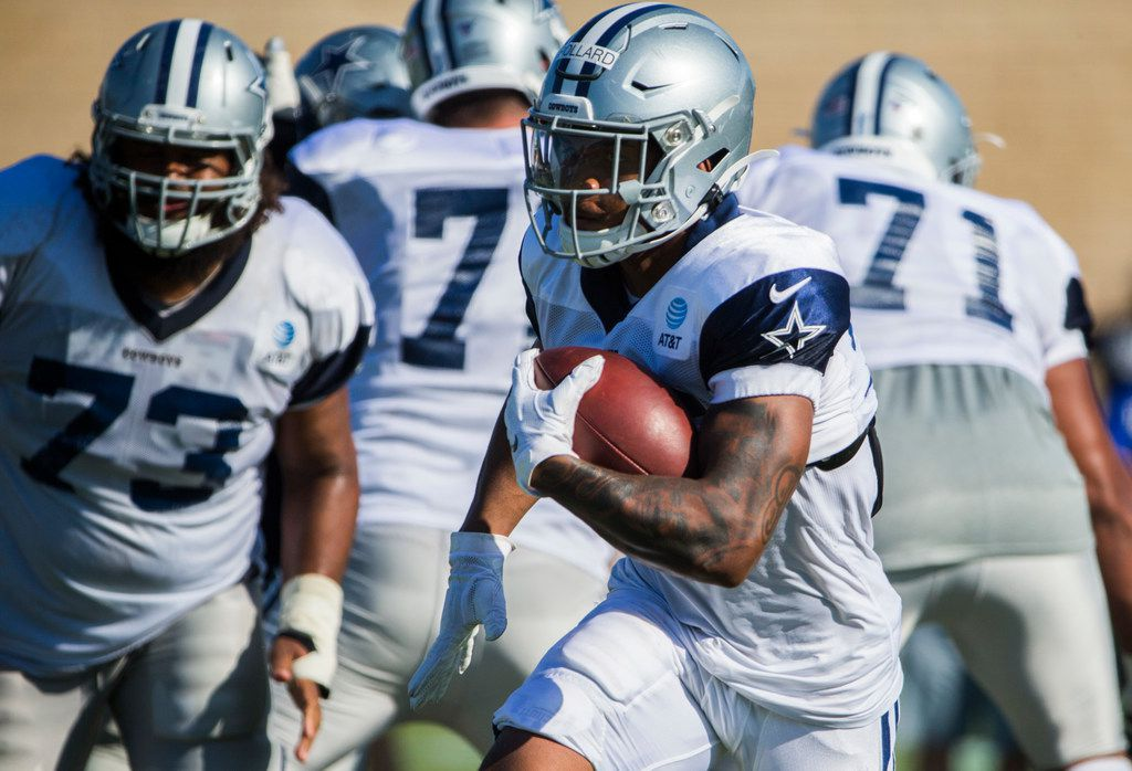 Cowboys running back Tony Pollard (36) runs the ball during an afternoon practice at training camp in Oxnard, Calif., on Monday, July 29, 2019. (Ashley Landis/The Dallas Morning News)