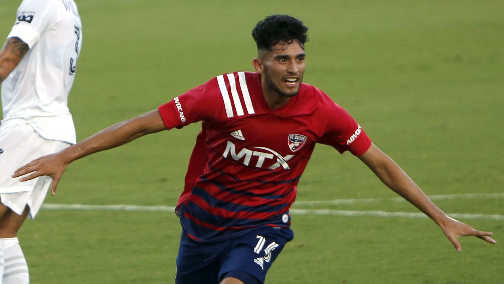 FC Dallas forward Ricardo Pepe (16) celebrates a goal to break a scoreless tie during first half action against LA Galaxy. The two teams played their MLS match at Toyota Stadium in Frisco on July 24, 2021. (Steve Hamm/ Special Contributor)