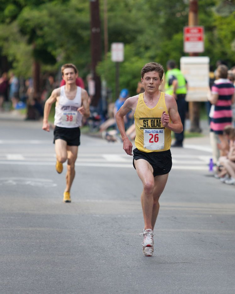 Jon finishing the Ithaca Festival mile, a race that starts blocks from where Jon lived in Ithaca.