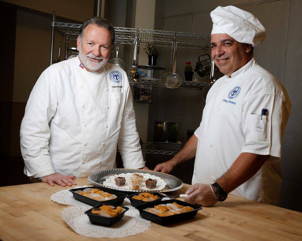 Chef Christos Tsatsoulas, (left) from Phyllosophy Bakery, and Alexandros Perdikomatis make baklava.