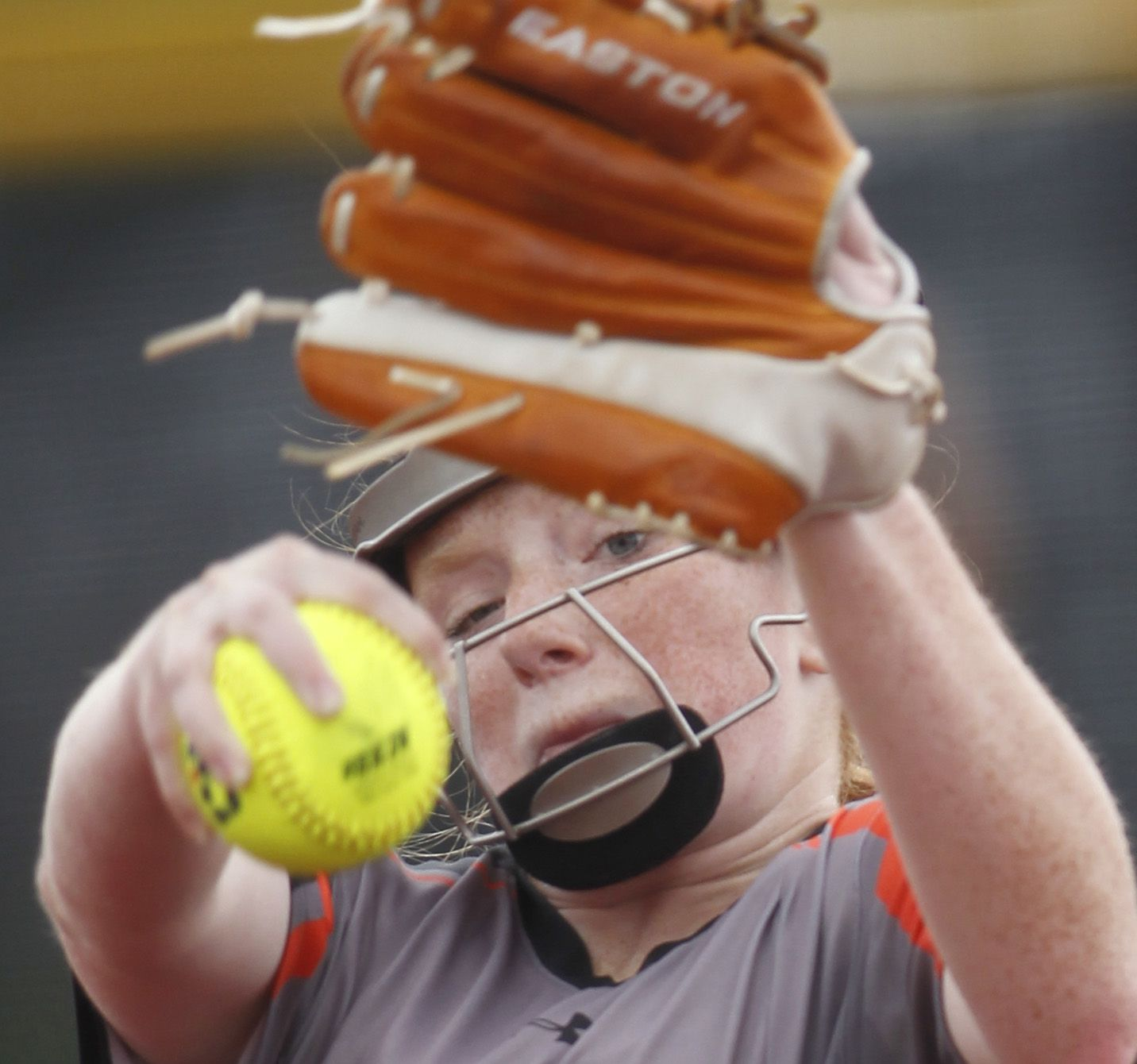 Rockwall pitcher Ainsley Pemberton (9) delivers a pitch to a Converse Judson batter during the bottom of the first inning of play. The two teams played their UIL 6A state softball semifinal game at Leander Glenn High School in Leander on June 4, 2021. (Steve Hamm/ Special Contributor)