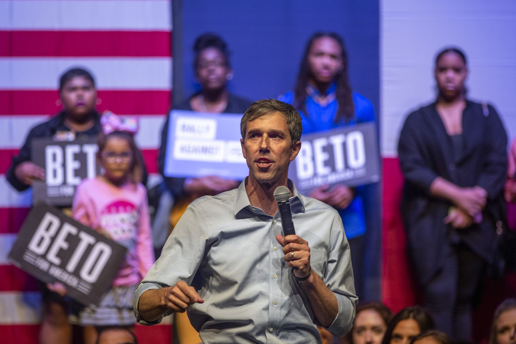 Then Democratic presidential candidate and former Texas Rep. Beto O'Rourke addresses the crowd at the Rally Against Fear event hosted by O'Rourke's campaign in the Theatre at Grand Prairie on Thursday, Oct. 17, 2019, in Grand Prairie, Texas. O'Rourke hosted the event in response to President Donald Trump's rally in downtown Dallas at the same time.