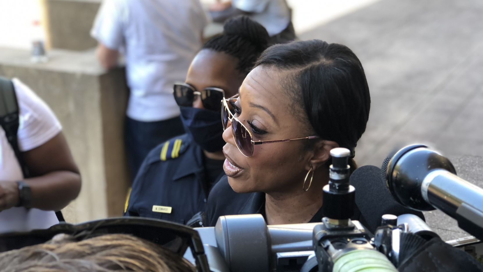Dallas Police Chief U. Reneé Hall speaks during a protest Sunday afternoon outside City Hall.