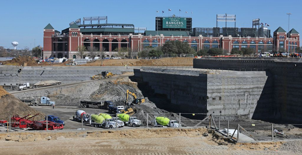 Construction continues on the new Texas Rangers baseball stadium in Arlington.