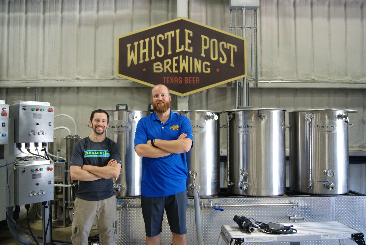 Blake Morrison (left) and Evan Batt (right) of Whistle Post Brewing Co.