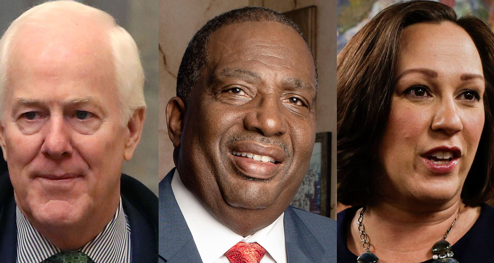 A composite image showing (from left) US Senator John Cornyn (R, Texas);  Texas State Senator and Democratic candidate for Senate Royce West; MJ Hegar, Democratic candidate for Senate. (Credits:  Mark Wilson/Getty Images; Dallas Morning News archives; Bronte Wittpenn/Austin American-Statesman via AP)