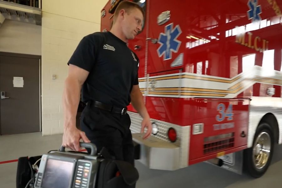 A Richardson fire department EMS worker appears in a city video about the department.