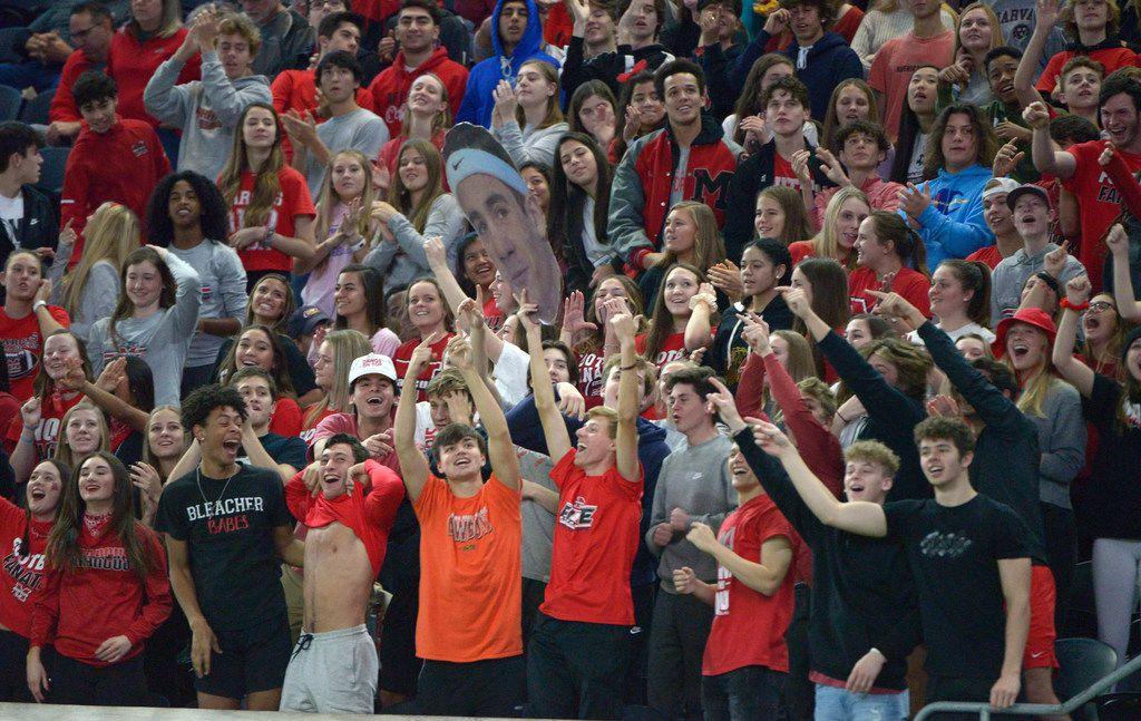 Flower Mound Marcus' students cheer in the second half of a Class 6A Division II area round high school playoff football game between Flower Mound Marcus and Lake Highlands, Saturday, Nov. 23, 2019, in Frisco, Texas. (Matt Strasen/Special Contributor)