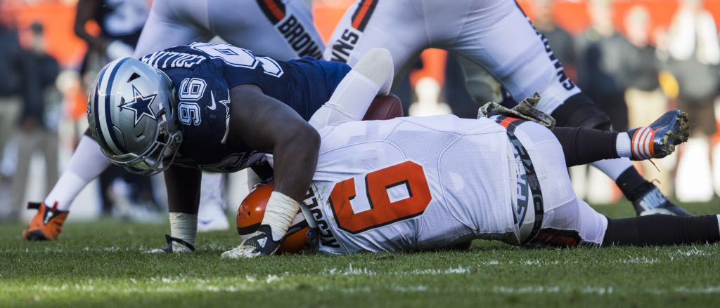 Dallas Cowboys defensive tackle Maliek Collins (96) sacks Cleveland Browns quarterback Cody Kessler (6) during the third quarter of their game on Sunday, November 6, 2016 at FirstEnergy Stadium in Cleveland, Ohio.  (Ashley Landis/The Dallas Morning News)