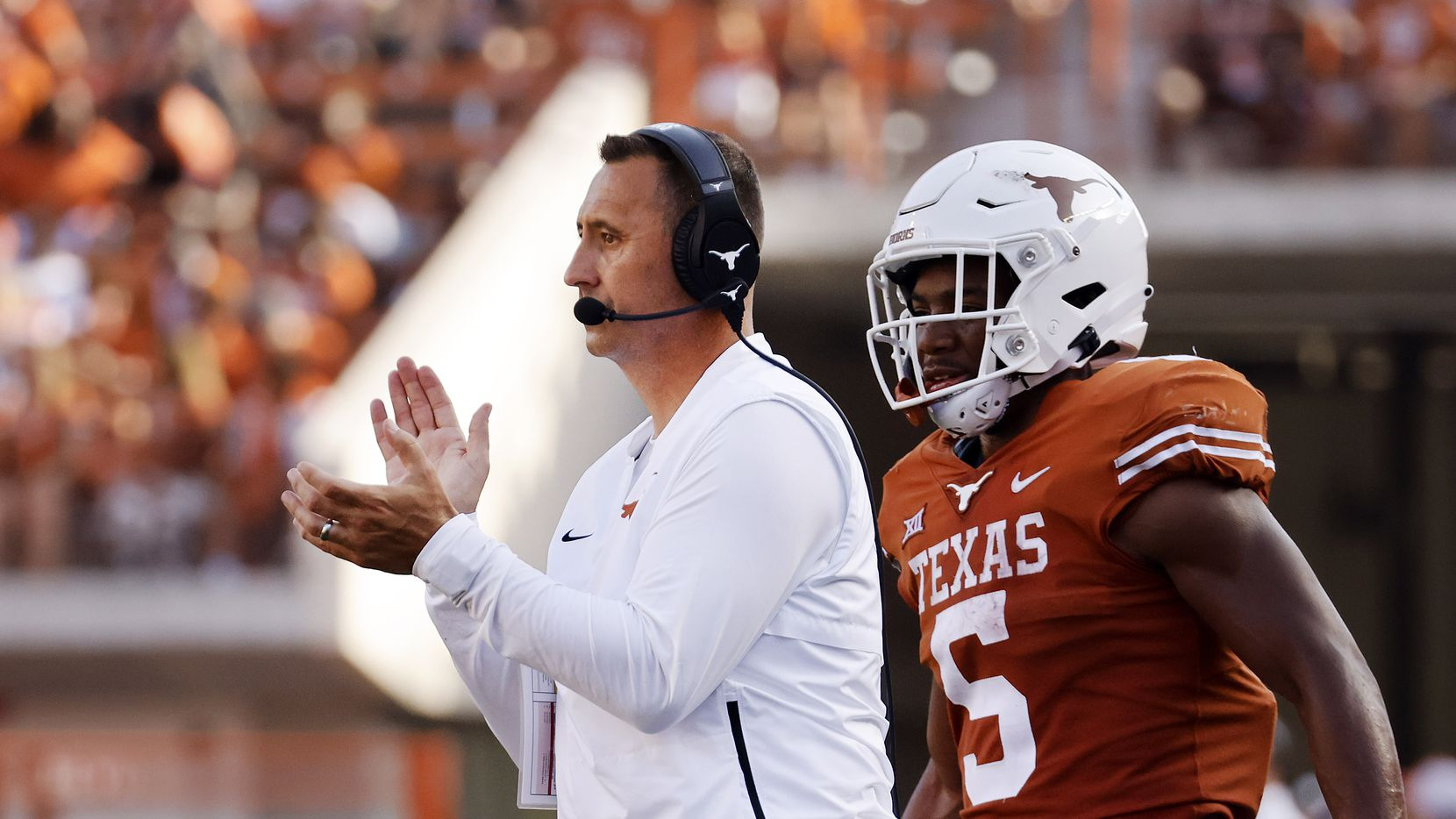 Texas Longhorns head coach Steve Sarkisian applauds his players as they faced the Louisiana-Lafayette Ragin Cajuns during the second half at DKR-Texas Memorial Stadium in Austin, Saturday, September 4, 2021.