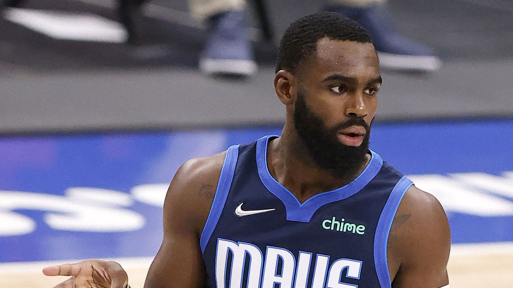 Dallas Mavericks forward Tim Hardaway Jr. (11) signals three after getting the foul and a shot against the Cleveland Cavaliers in the second quarter at the American Airlines Center in Dallas, Friday, May 7, 2021.