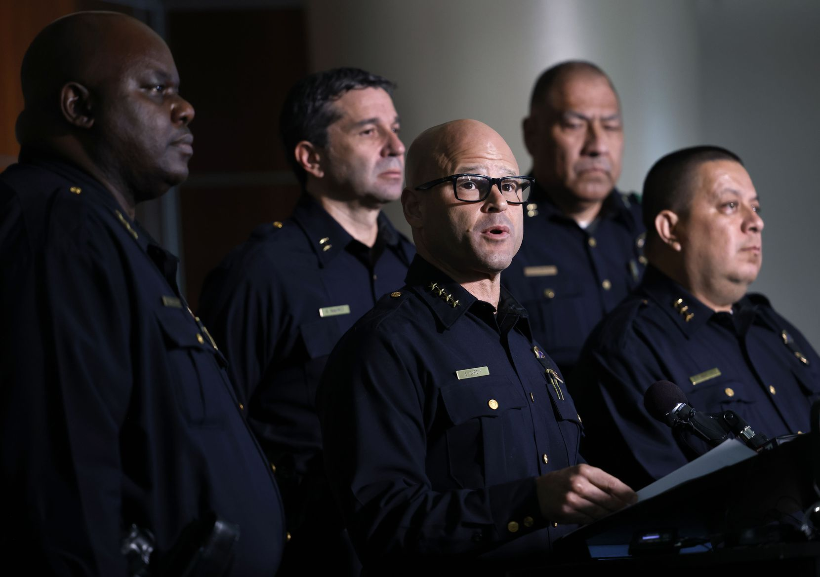 Dallas police Chief Eddie García delivered remarks about the arrest of Angela West, wife of Republican Texas gubernatorial candidate Allen West, during a news conference on Aug. 23, 2021.