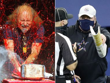 Left: Comedian Gallagher at the Five Flags Theater in Dubuque, Iowa. (AP Photo/Telegraph Herald, Jeremy Portje, File) ... Right: Cowboys head coach Mike McCarthy at AT&T Stadium. (Tom Fox/The Dallas Morning News)