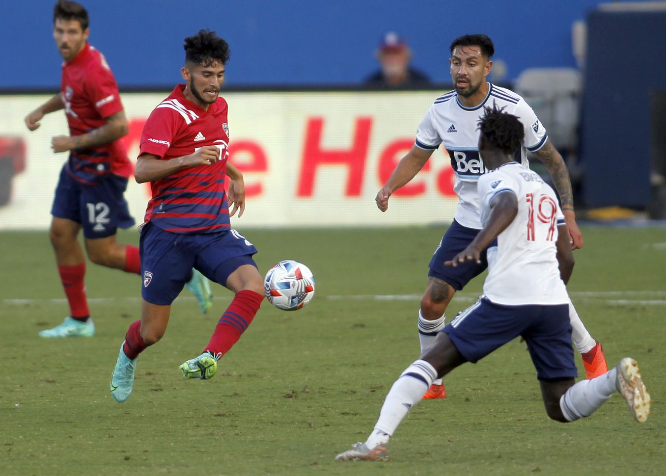 FC Dallas forward Ricardo Pepi (16) controls the ball during first half action against Vancouver. The two Major League Soccer teams played their match at Toyota Stadium in Frisco on July 4, 2021. (Steve Hamm/ Special Contributor)