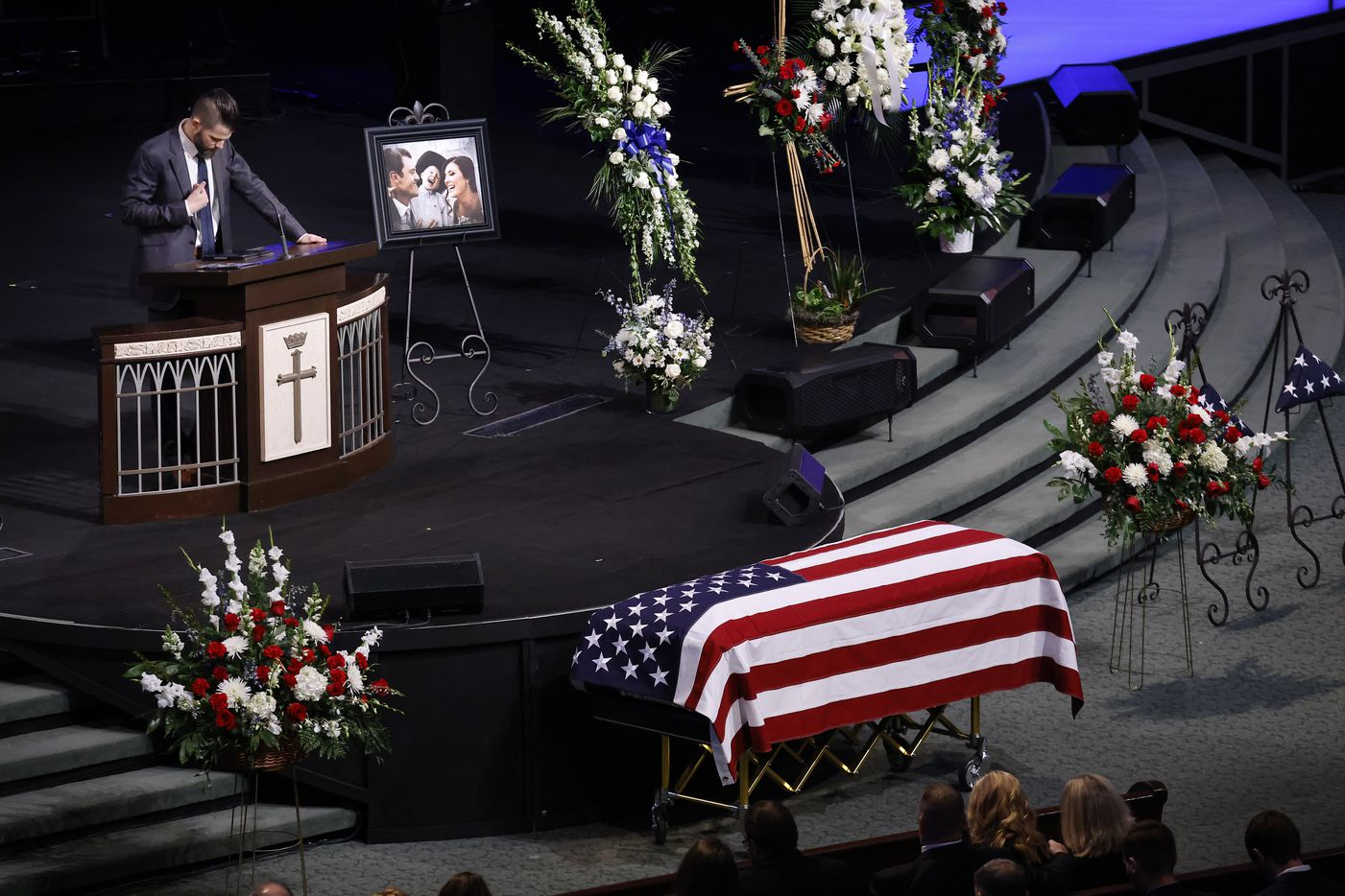 Pastor Corey Butler delivers words of comfort during a funeral service for his friend and Dallas Police officer Mitchell Penton at Prestonwood Baptist Church in Plano, Monday, February 22, 2021. Penton was killed Saturday, Feb. 13, 2021, in a crash involving a drunk driving suspect. (Tom Fox/The Dallas Morning News)