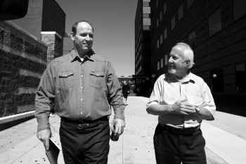 Stephen Brodie walks out of the Dallas County Jail with his father, J. Steve Brodie, who wrote letters to 42 groups and agencies around the country in a campaign to clear his name and win his release.