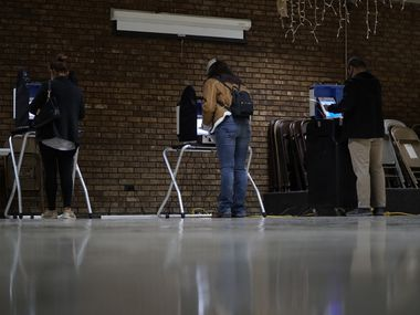 Voters cast their ballots at the Knights of Columbus building on the north side of Fort Worth on Nov. 4, 2020.