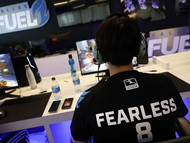 Dallas Fuel Overwatch League player Euiseok 'Fearless' Lee practices with his teammates ahead of their season opener against Houston at Envy Gaming Headquarters in Dallas, Monday, March 29, 2021.