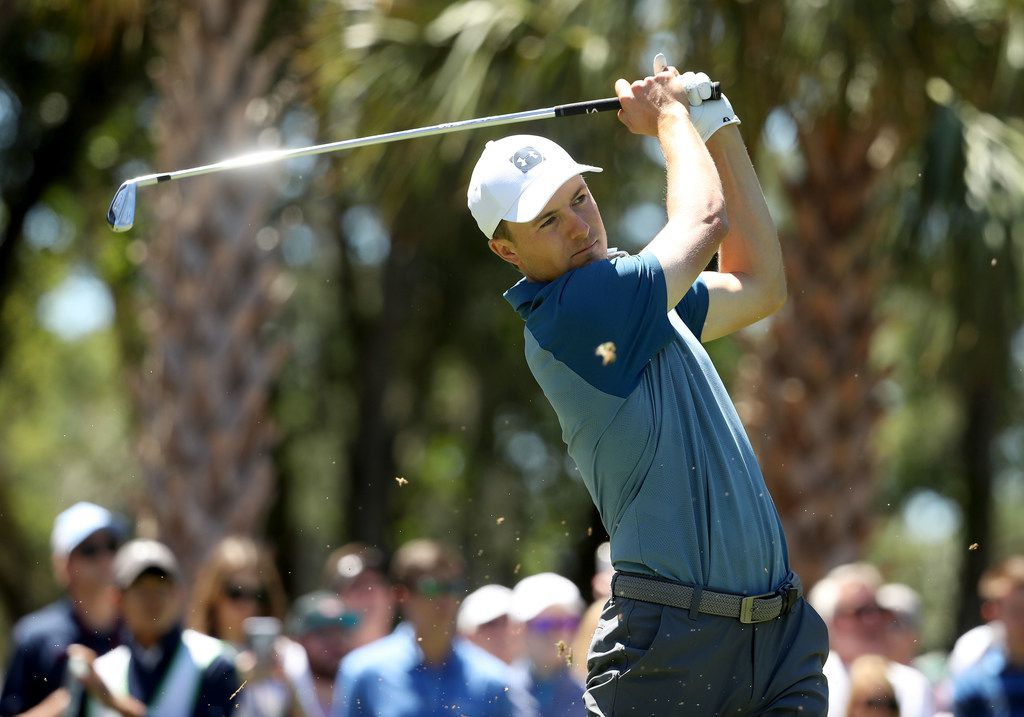 HILTON HEAD ISLAND, SOUTH CAROLINA - APRIL 21: Jordan Spieth hits a tee shot on the ninth hole during the final round of the 2019 RBC Heritage at Harbour Town Golf Links on April 21, 2019 in Hilton Head Island, South Carolina. (Photo by Streeter Lecka/Getty Images)