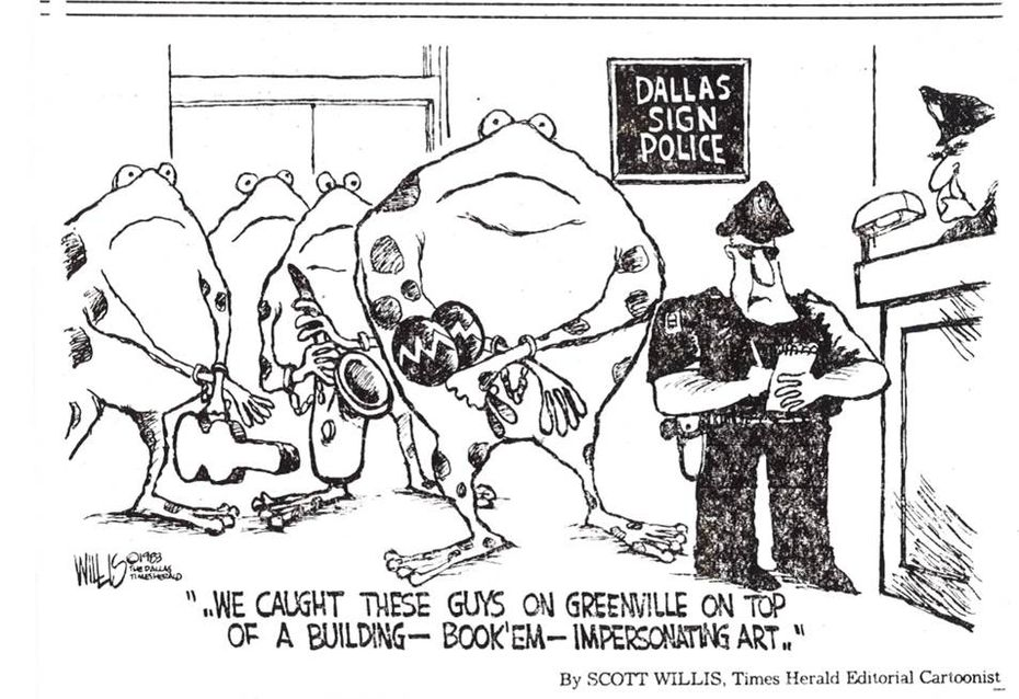 An editorial cartoon from 1983 shows the 'Tango Frogs' being arrested for 'impersonating art.'