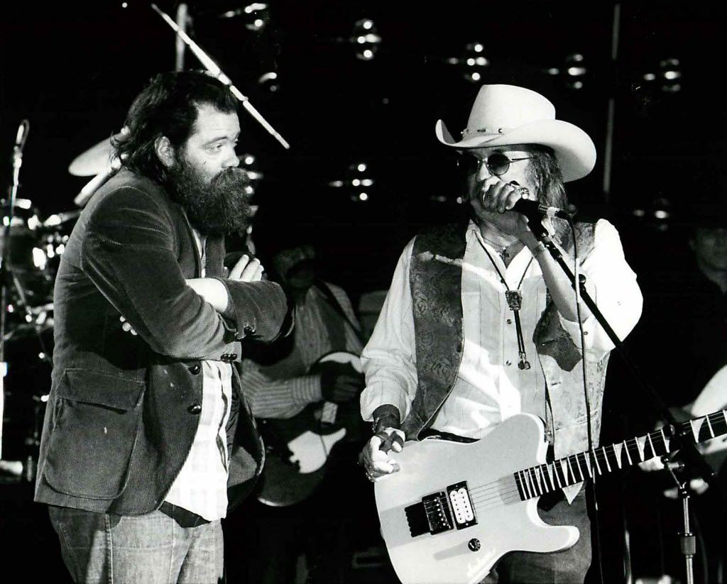 Roky Erickson (left) joins Doug Sahm and the Texas Tornados onstage in March 1991 during the Austin Music Awards.
