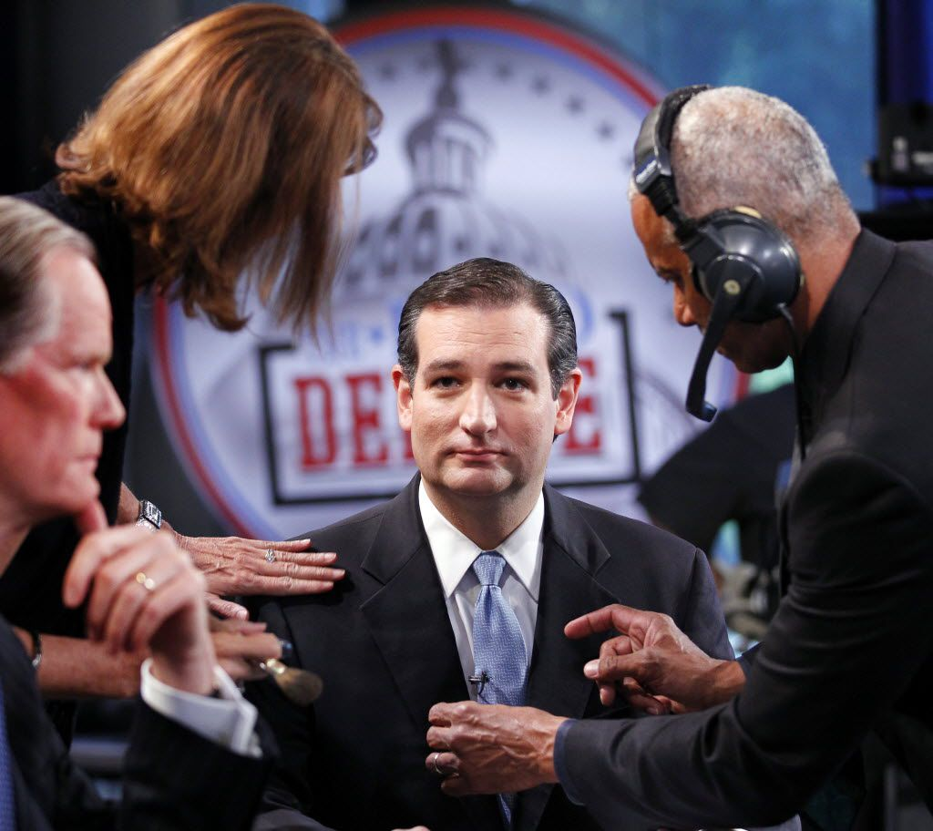 U.S. Senate Republican candidate Ted Cruz has his makeup put on and his microphone adjusted before his debate with David Dewhurst at WFAA Victory Plaza studio, Tuesday, July 17, 2012.  (Tom Fox/The Dallas Morning News)  / mug - mugshot - headshot - portrait / 07182012xNEWS 07182012xNEWS 07222012xNEWS  08082012xNEWS 08202012xNEWS 01212013xNEWS 03272013xNEWS 03272013xBRIEFING
