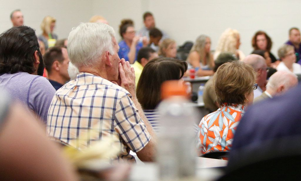 A near-capacity crowd listens intently as citizens speak in favor as well as against the hiring of Art Briles. The meeting of the Mount Vernon ISD Board was the first since naming Art Briles as its head football coach. The Meeting was held in the High School Lecture Hall in Mount Vernon on June, 17, 2019.  (Steve Hamm/ Special Contributor)