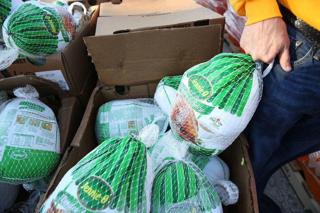 Turkeys are distributed by a food bank in this file photo. The AT&T Foundation has donated $10,000 to the DeSoto Food Bank to support their holiday meal efforts.