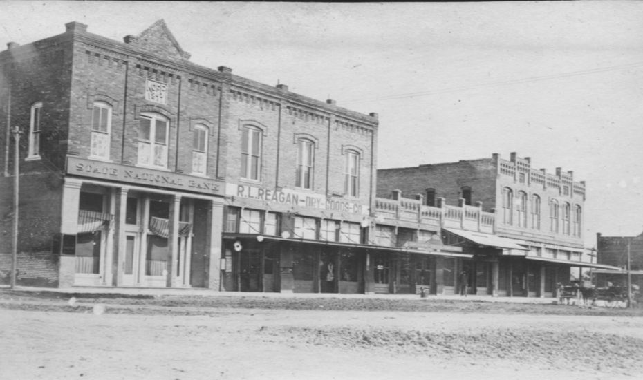 The west side of the Garland Square, pre-automobile. The property currently being restored at 107 Sixth St. is the left half of the one-story portion of the block.