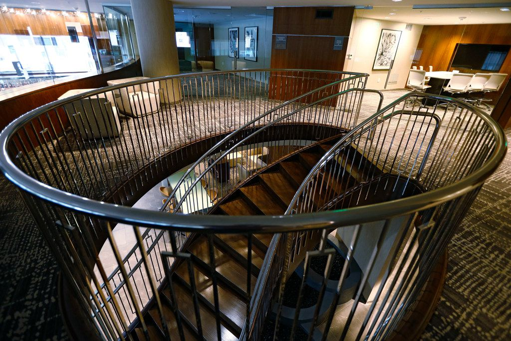 The staircase in the AC Hotel by Marriott in Dallas on Oct. 17, 2017. (Nathan Hunsinger/The Dallas Morning News)