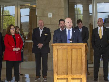 "Collin County Judge Chris Hill announces a stay at home order for  Collin County amid the COVID-19 pandemic at the Collin County Courthouse on Tuesday, March 24, 2020. However, in contrast to Dallas County's stay at home order— which specifies only certain businesses as ""essential"" — the Collin County order states that all businesses are deemed essential but must abide by the governor's precautionary orders set in place. ""Please help us stay safe as a community by staying home as a community,"" Hill said.(Lynda M. Gonzalez/The Dallas Morning News)"