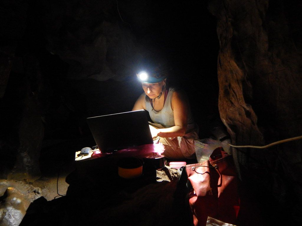 Becca Peixotto works in the Rising Star Cave system.