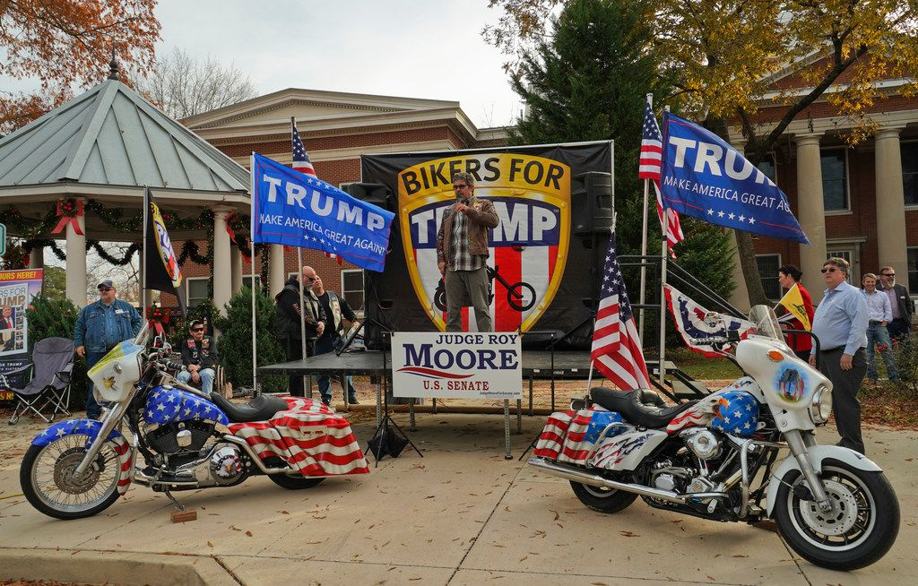 Bikers for Trump rally in support of Alabama Chief Justice and U.S. Senate candidate Roy Moore on Sunday at the Jackson County Courthouse Square in Scottsboro, Ala. After speaking out against Moore's opponent and the women who have accused Moore of sexual misconduct, President Trump on Monday explicitly endorsed Moore in the special election to fill the seat vacated when Jeff Sessions became attorney general.