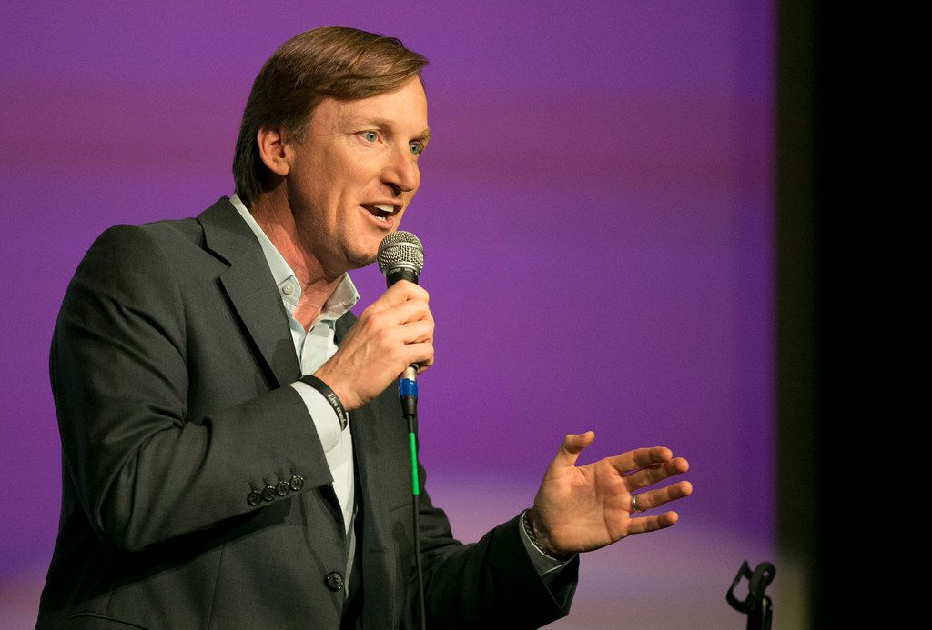 Democratic gubernatorial candidate Andrew White speaks at the Jolt Texas Town Hall at AFC Cinema on Sunday.